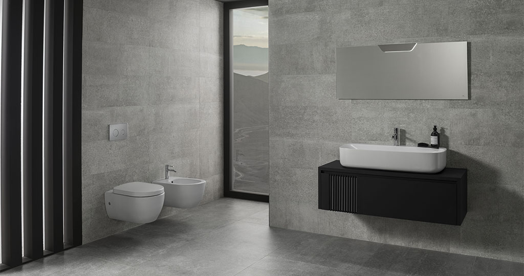 GET THE LOOK: Pack Architect + Round. White, black and grey, a perfect combination for the bathroom