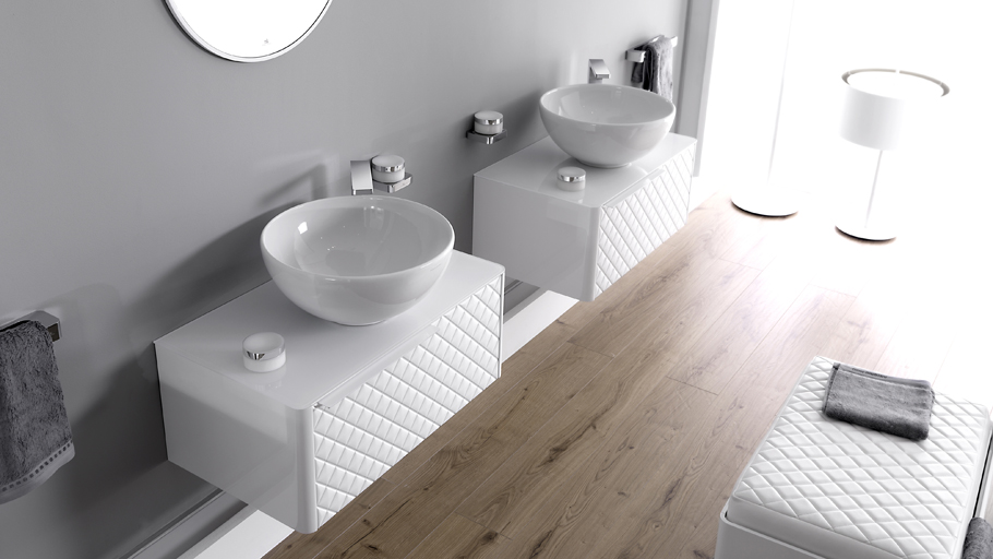 Noken offers Pure White bathrooms to create large, bright atmospheres
