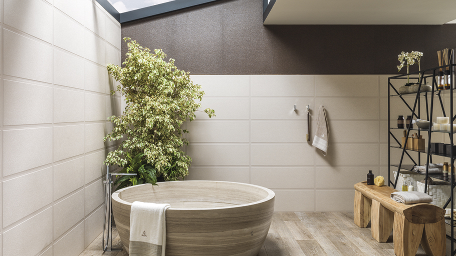 Porcelanosa emulates the quality of carved stone in the Village ceramic wall tiles