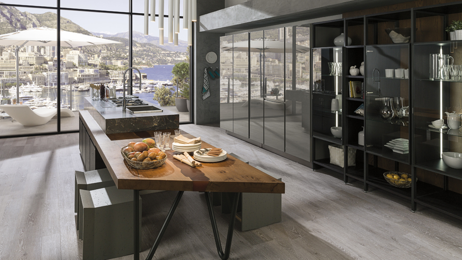 Gamadecor updated the traditional kitchen concept with its latest Emotions model