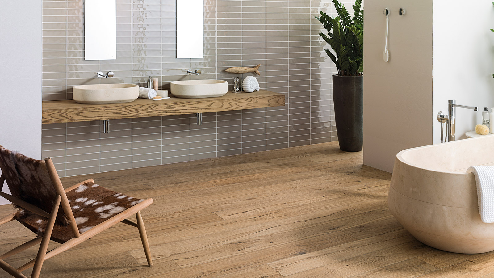 GET THE LOOK: We combine natural stone and wood in the bathroom with the Delaware ceramic parquet by PAR-KER