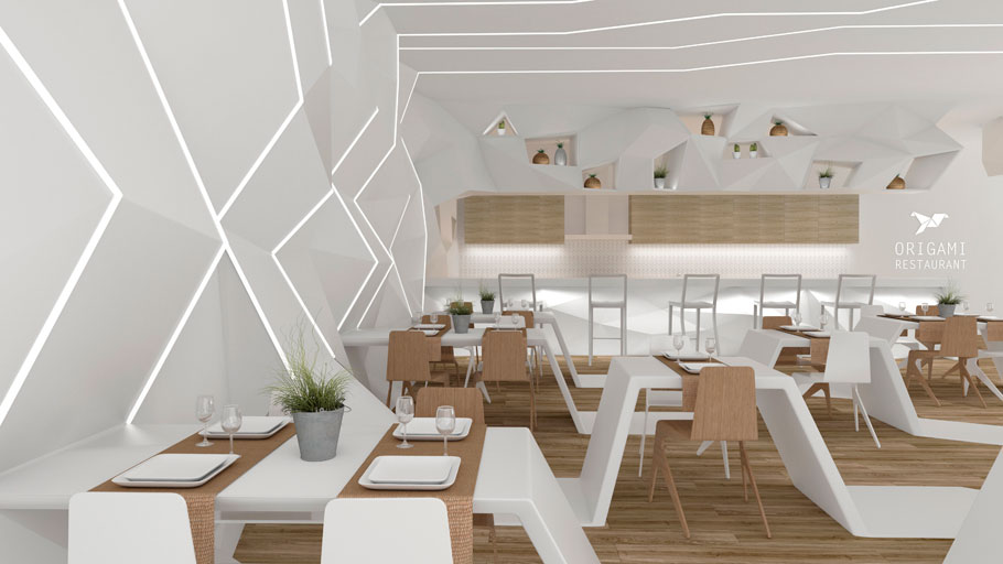 The 9th PORCELANOSA Grupo Award Finalists: The origami restaurant by Elena García regarding Forward-looking Projects in the Students' category