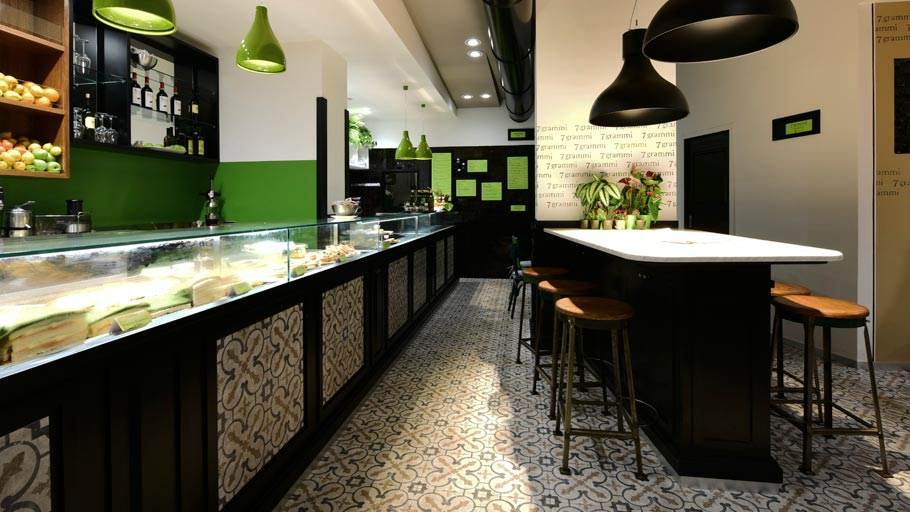 PORCELANOSA Grupo Projects: the retro-Mediterranean style restaurant 7 Grammi in Rome