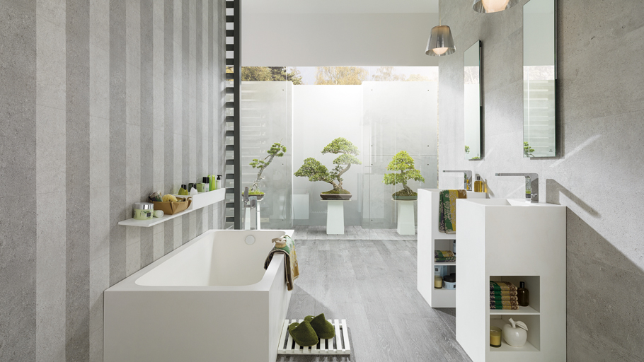 Vintage designs and chic reliefs decorate the Dover ceramic stone from Porcelanosa