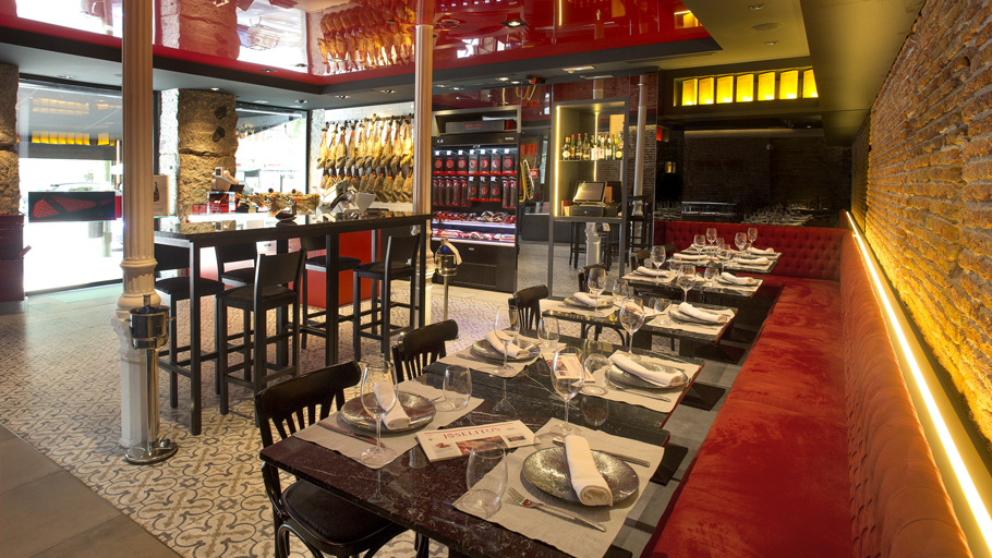 PORCELANOSA Grupo Projects: the bistro gourmet shop Joselito's Velázquez in Madrid