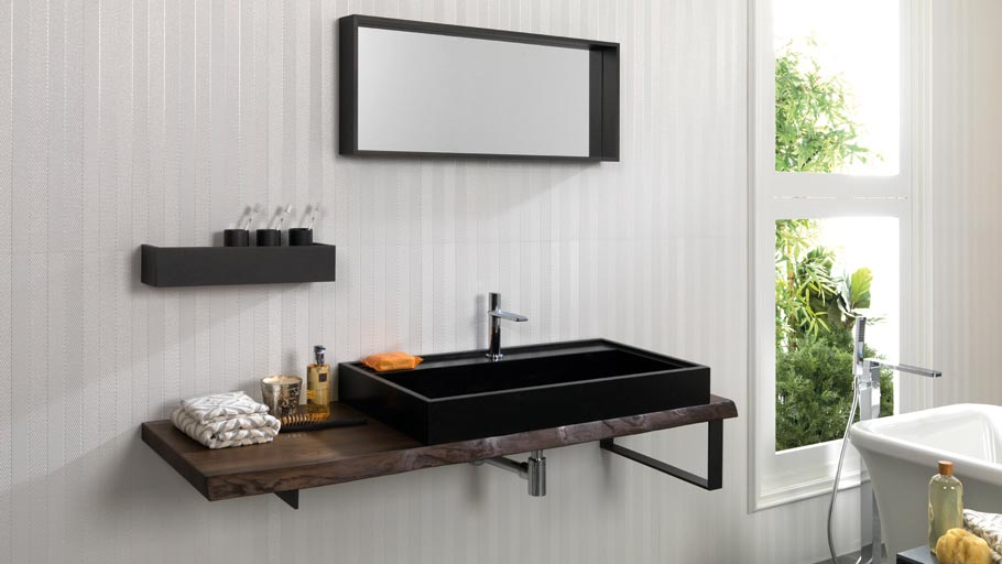 Bronze Oak Wood furniture by Gamadecor: wood plays a major role in the bathroom