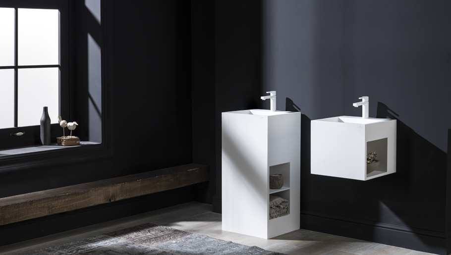 Straight lines define the new bathroom collection by Systempool, made in Krion®