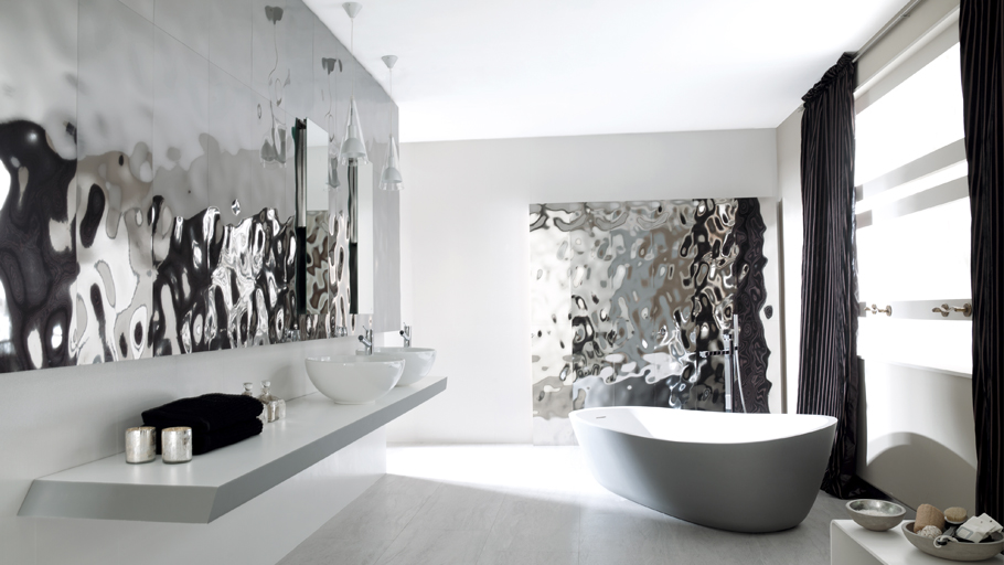 Precious metal-effect wall tiles: A luxury design full of high-quality porcelain