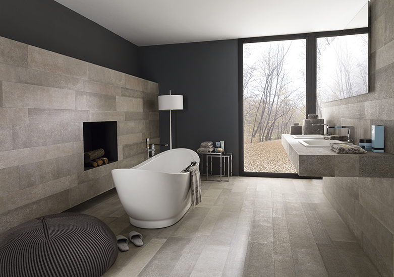 The strength of cement with wood textures that unite the Estocolmo collection by Venis