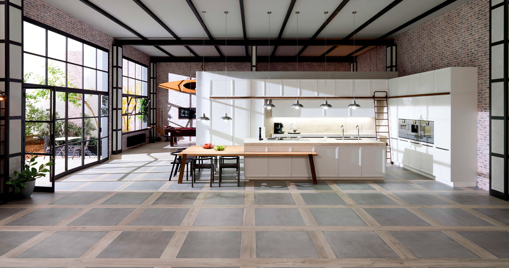 Kitchens with a natural aesthetic with Par-Ker ceramic parquet