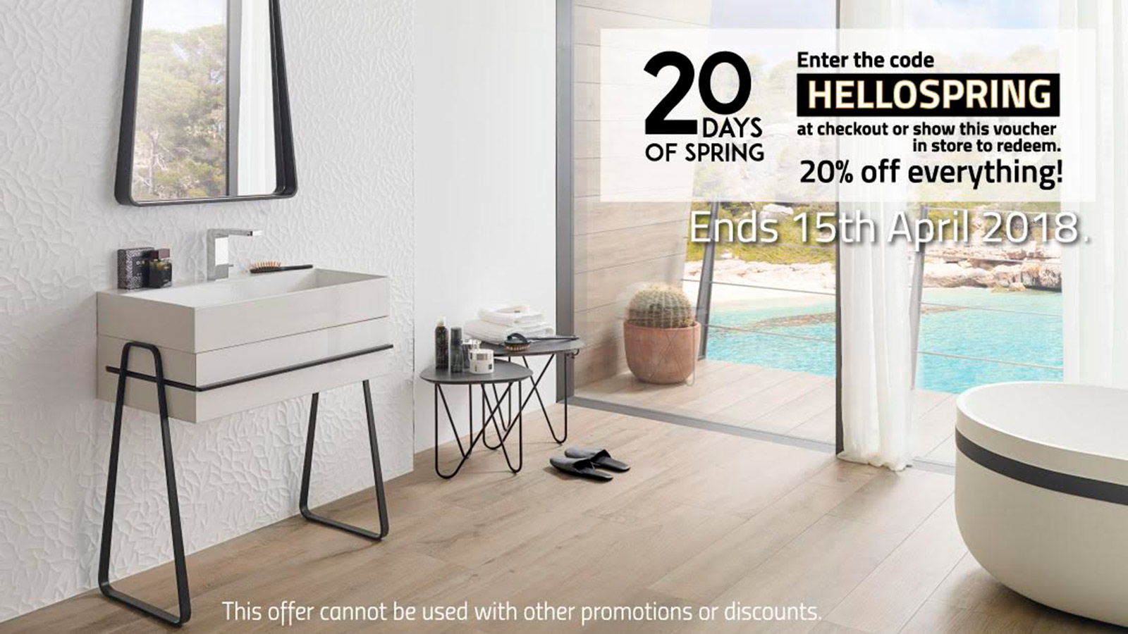 [EXPIRED] Porcelanosa SALE: 20 days of spring. Up to -20% OFF until 15th April 2018