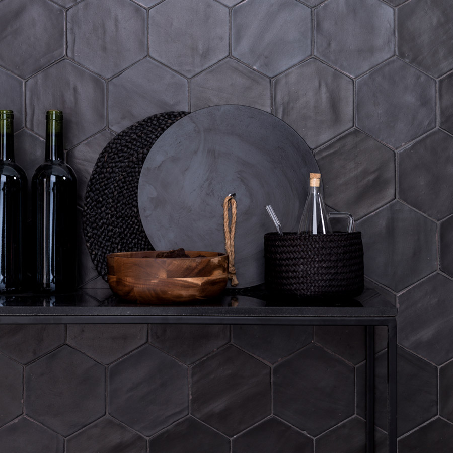 Black patterned wall tiles