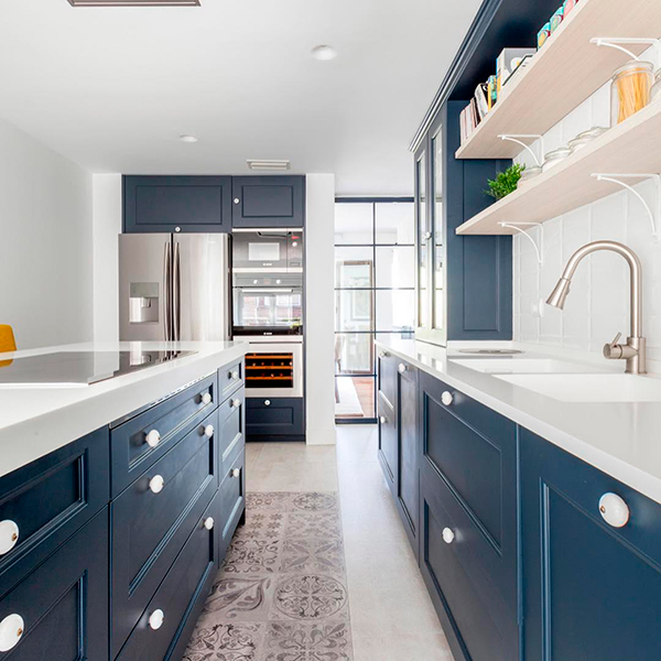 kitchens with blue cabinetes