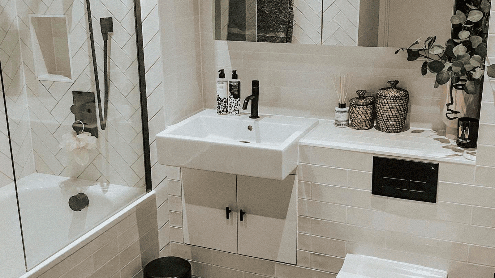 Trendy bathroom layouts using metro tiles