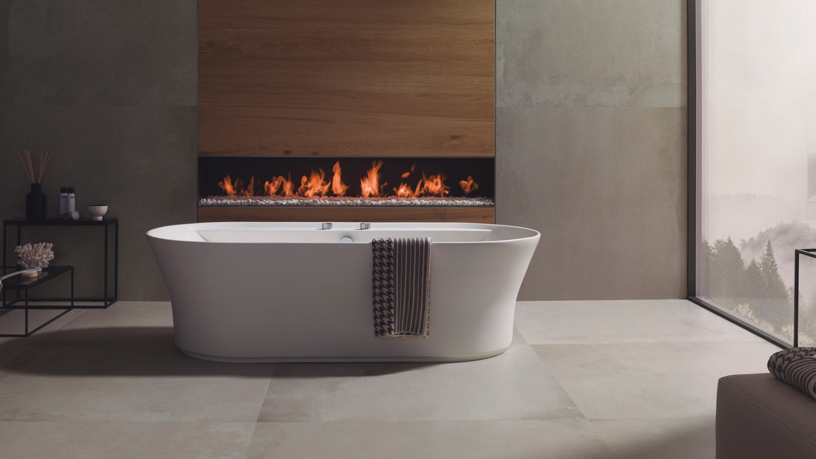 These fireplaces have the quintessential Porcelanosa style