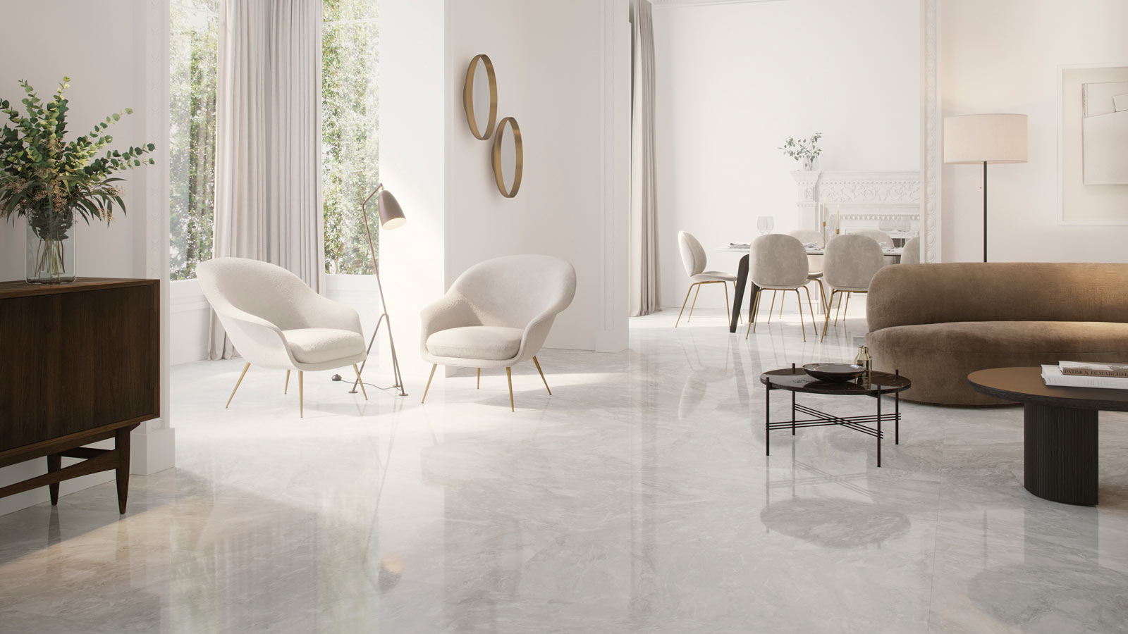 Grey marble gains lightness and brightness with Marvel Pulido from Porcelanosa