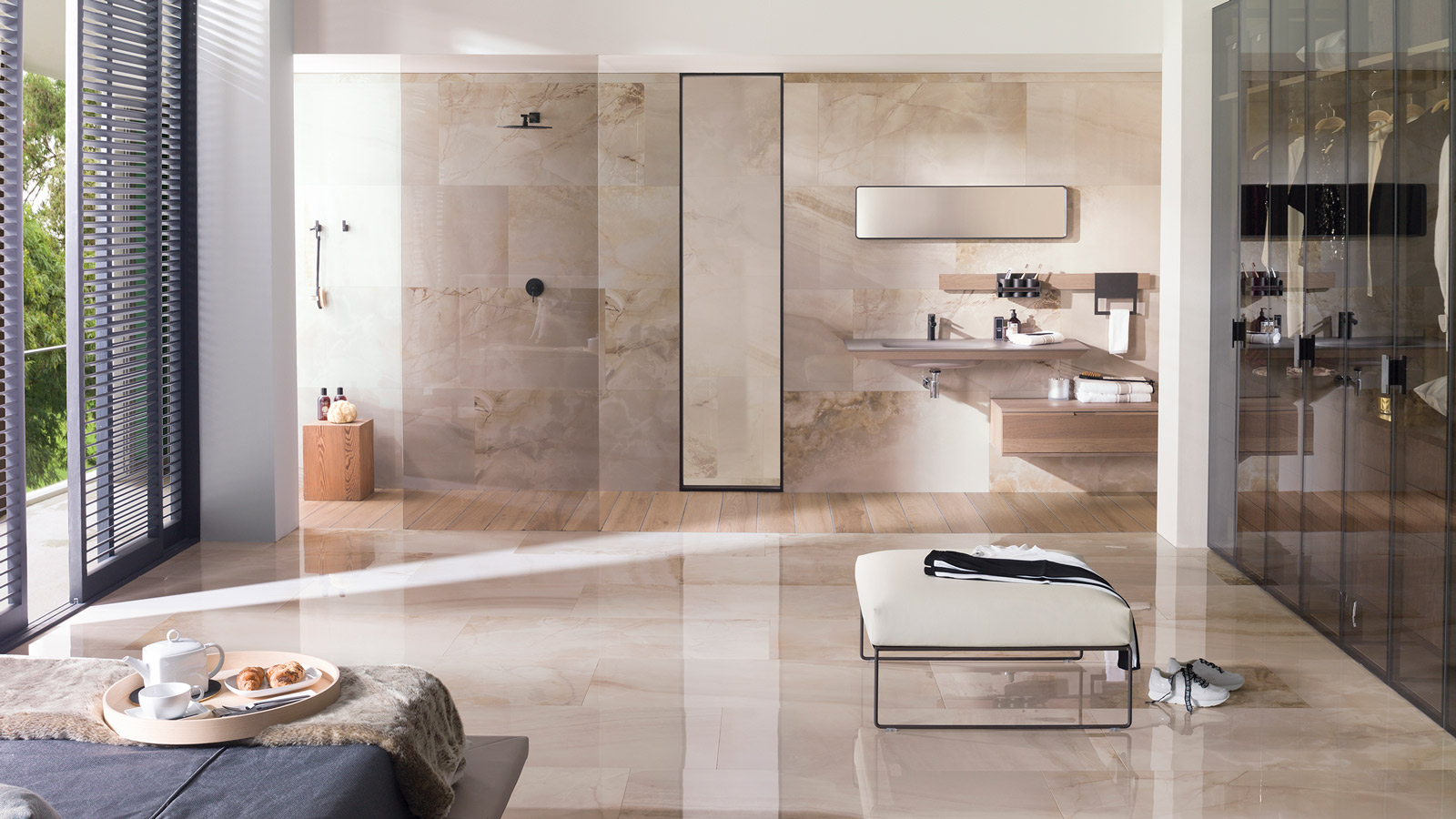 Sochi by Porcelanosa, an ultra refined ceramic tile inspired by onyx