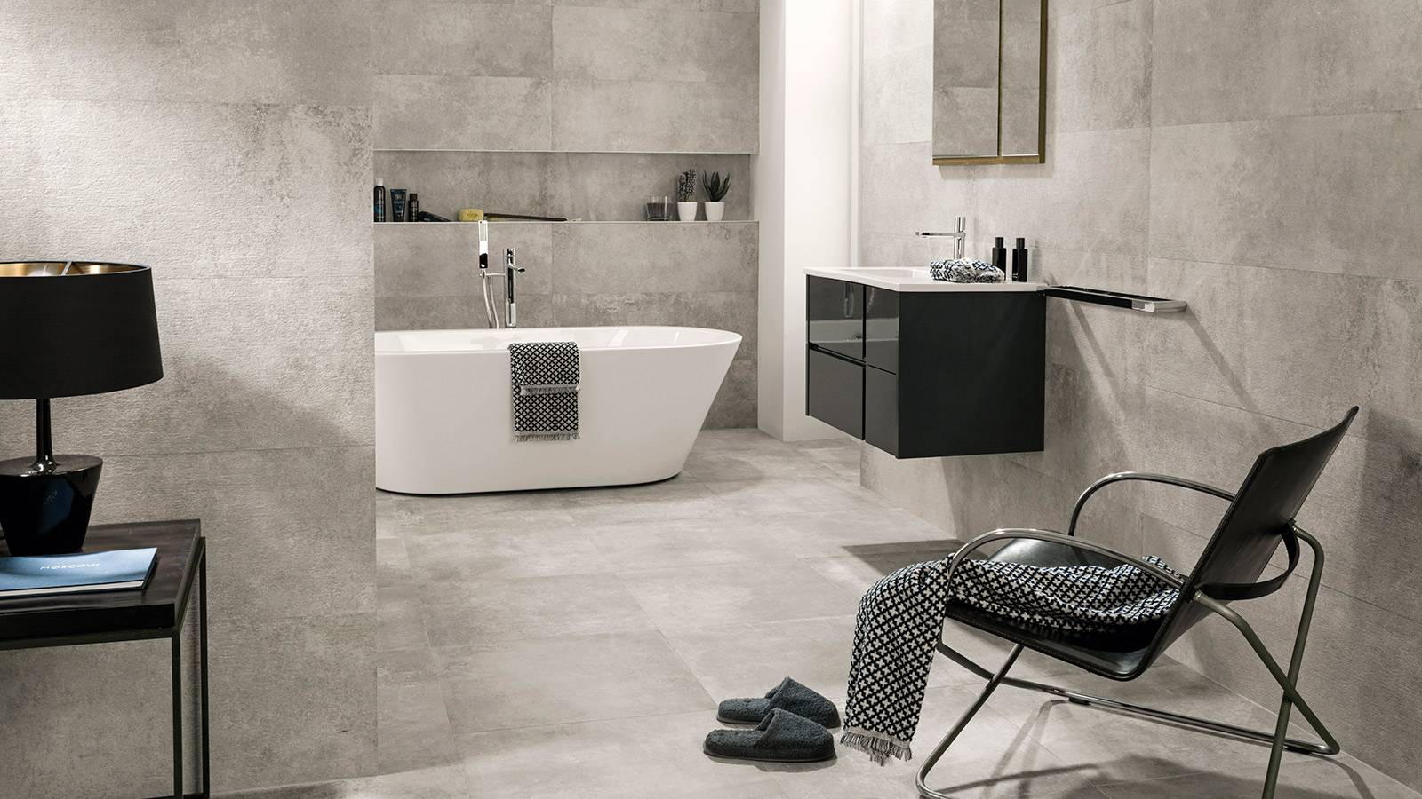 "Essential collections by Porcelanosa to achieve a ""cement look"""