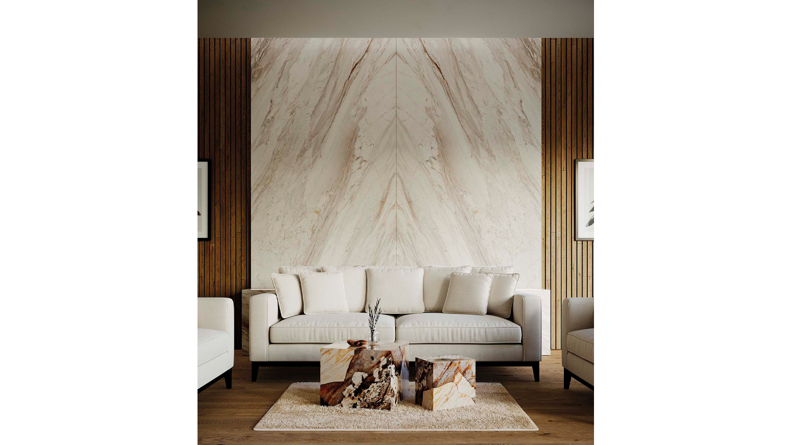 Marmol Aspen White + Altissima Pangea Polished + Parque Advance 1L Marron Antic Colonial Porcelanosa