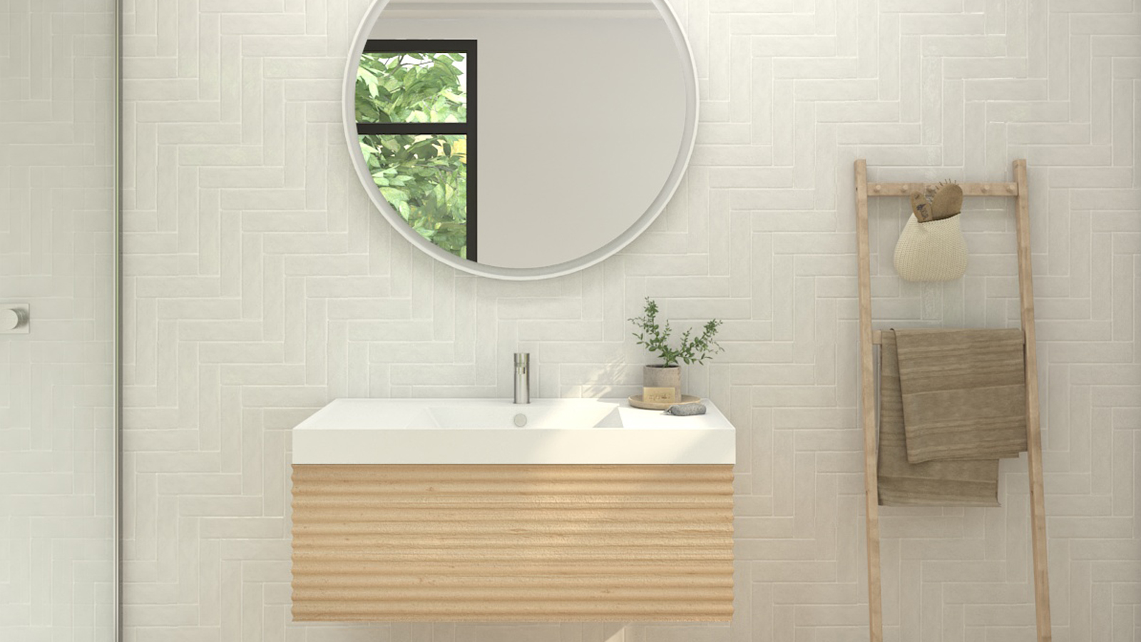Krion Shell + Waves single unit + Krion One countertop Porcelanosa