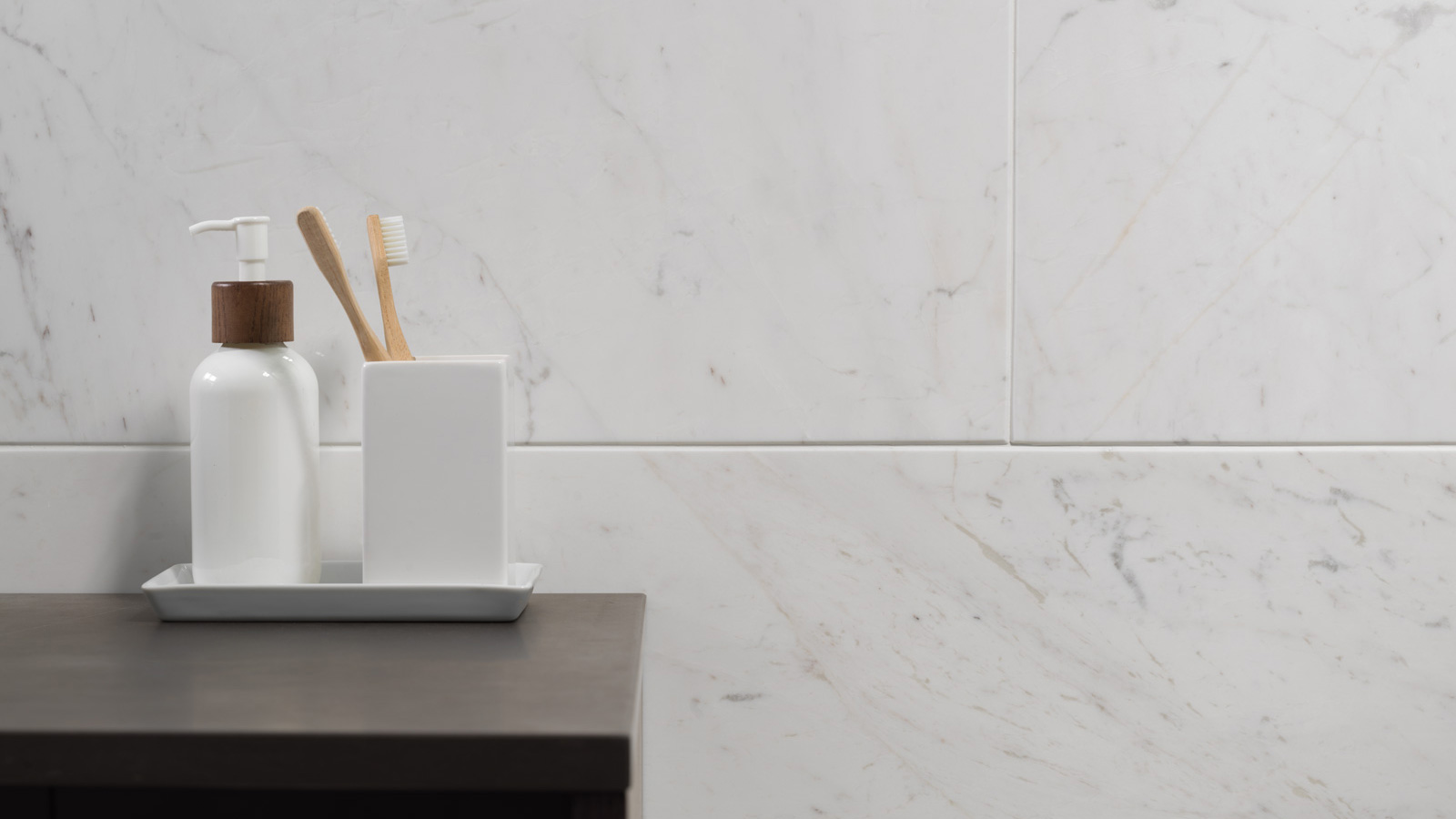 Contemporary luxury with Aston and Bianca marble by L'ac